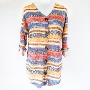 Absolutely Famous Striped Button Up Sweater
